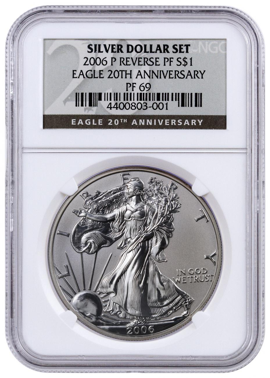 2006-P Reverse Proof Silver Eagle NGC PF69 (20th Anniversary Label)