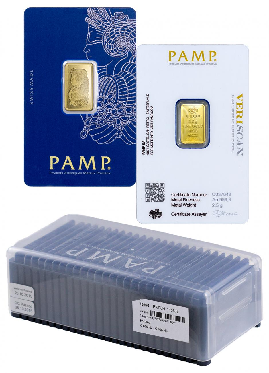 Box of 25 PAMP Fortuna 2.5 g Gold Bars In Assay