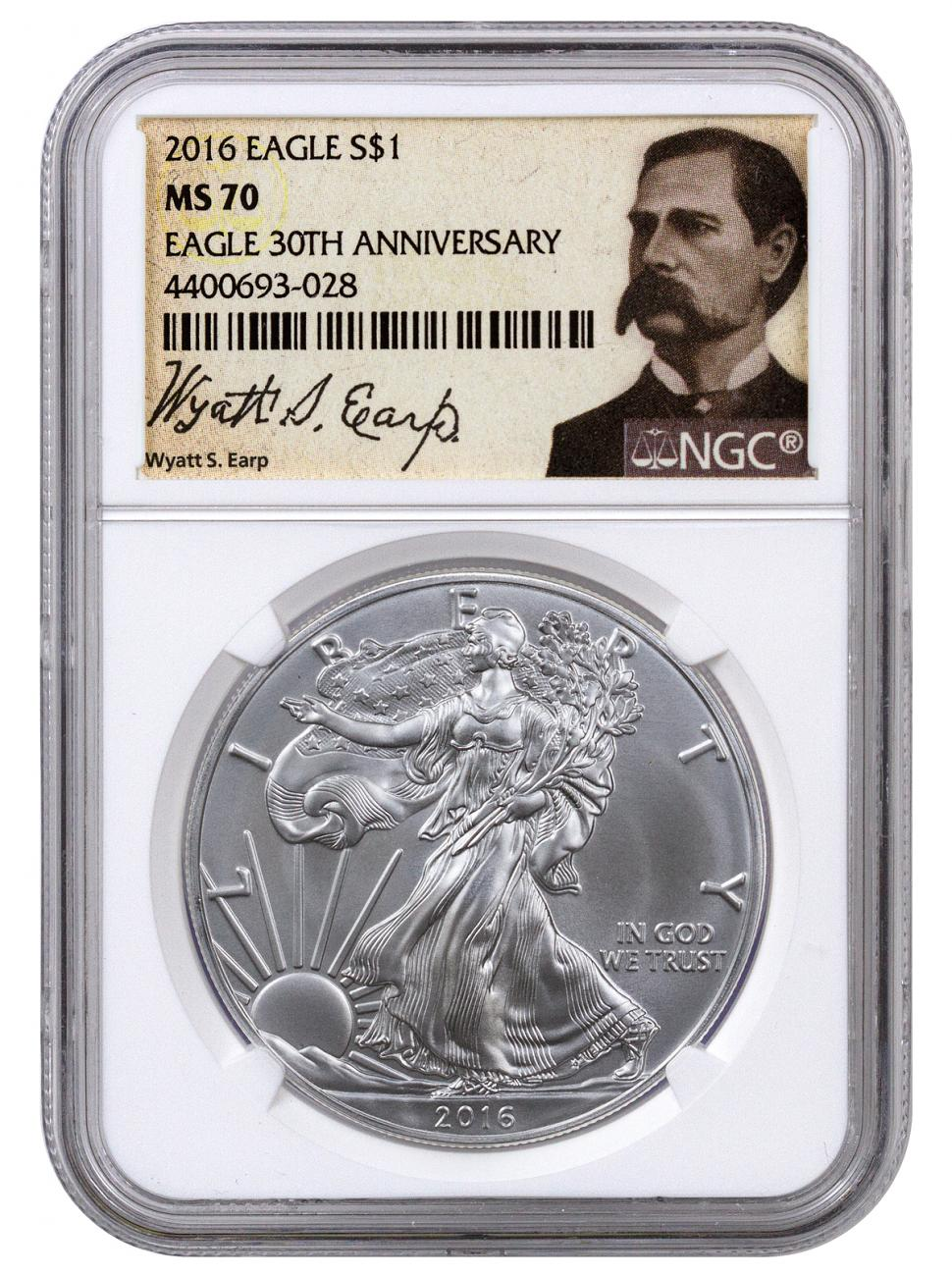 2016 American Silver Eagle - NGC MS70 (Wyatt Earp Label)