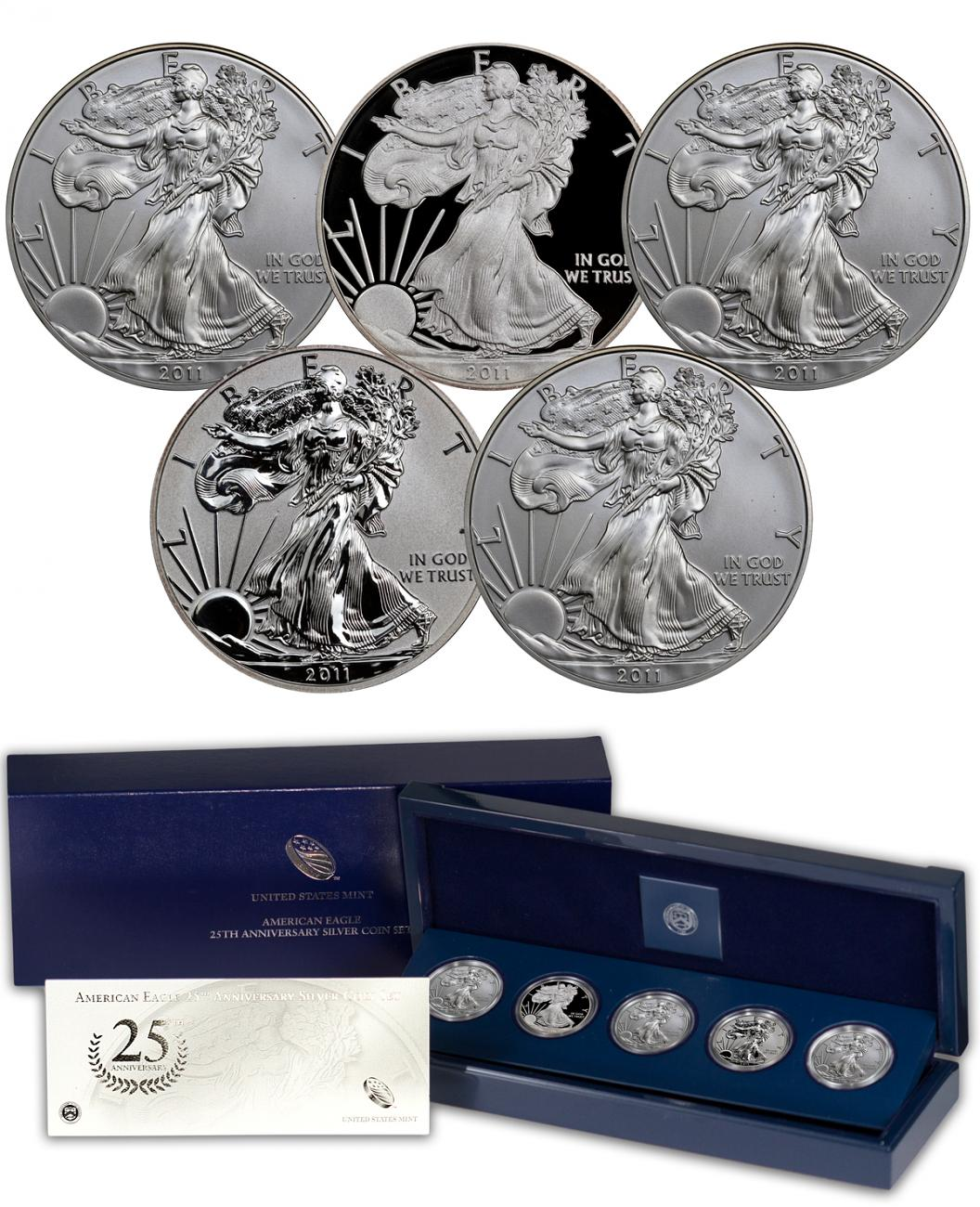 2011 Silver Eagle 25th Anniversary 5-Coin Set - (OGP)