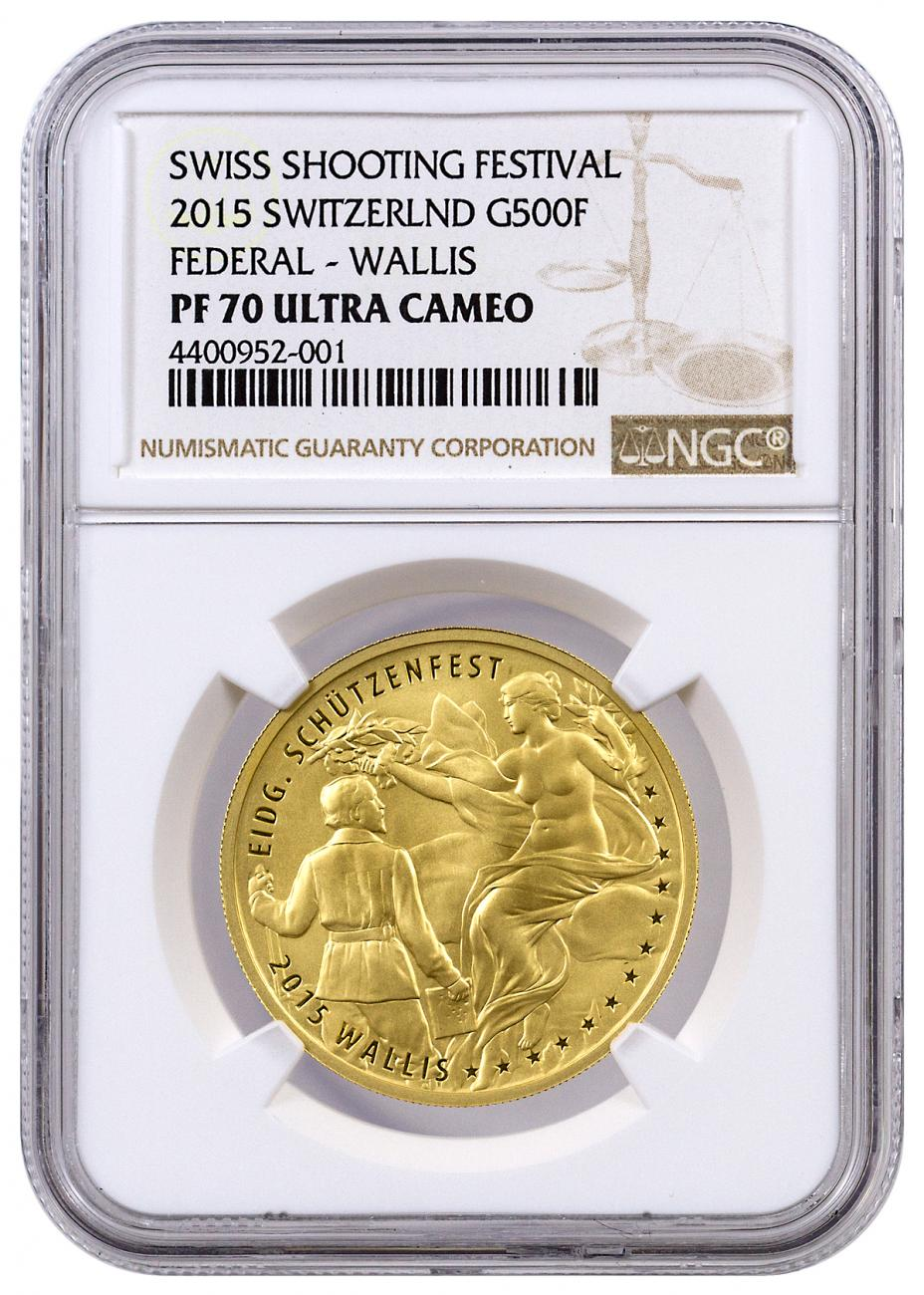 2015 Switzerland 500 Francs Proof Gold Shooting Festival Thaler  - Federal Wallis - NGC PF70 UC