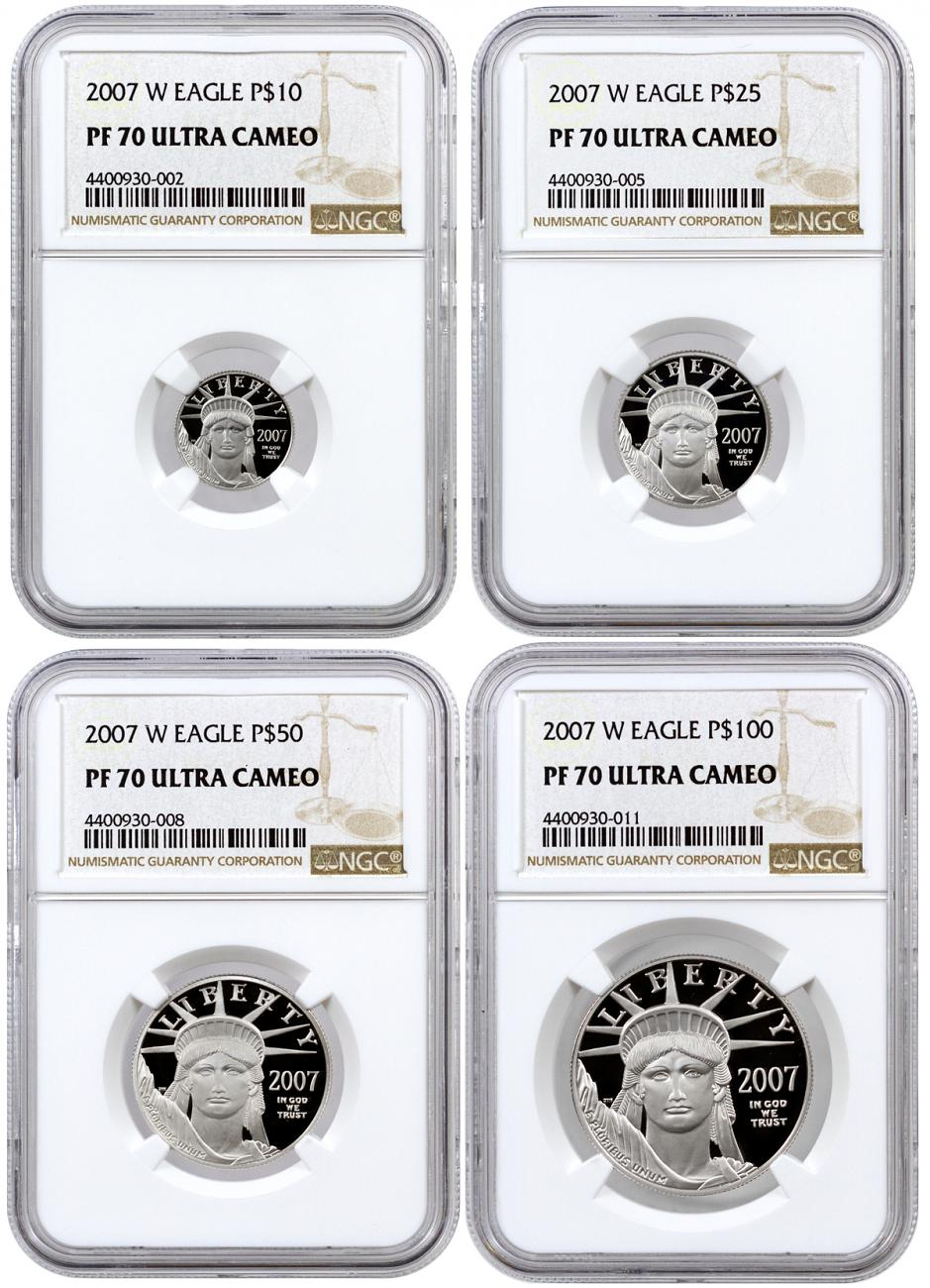 2007-W Proof American Platinum Eagle - Set of 4 Coins - NGC PF70 UC
