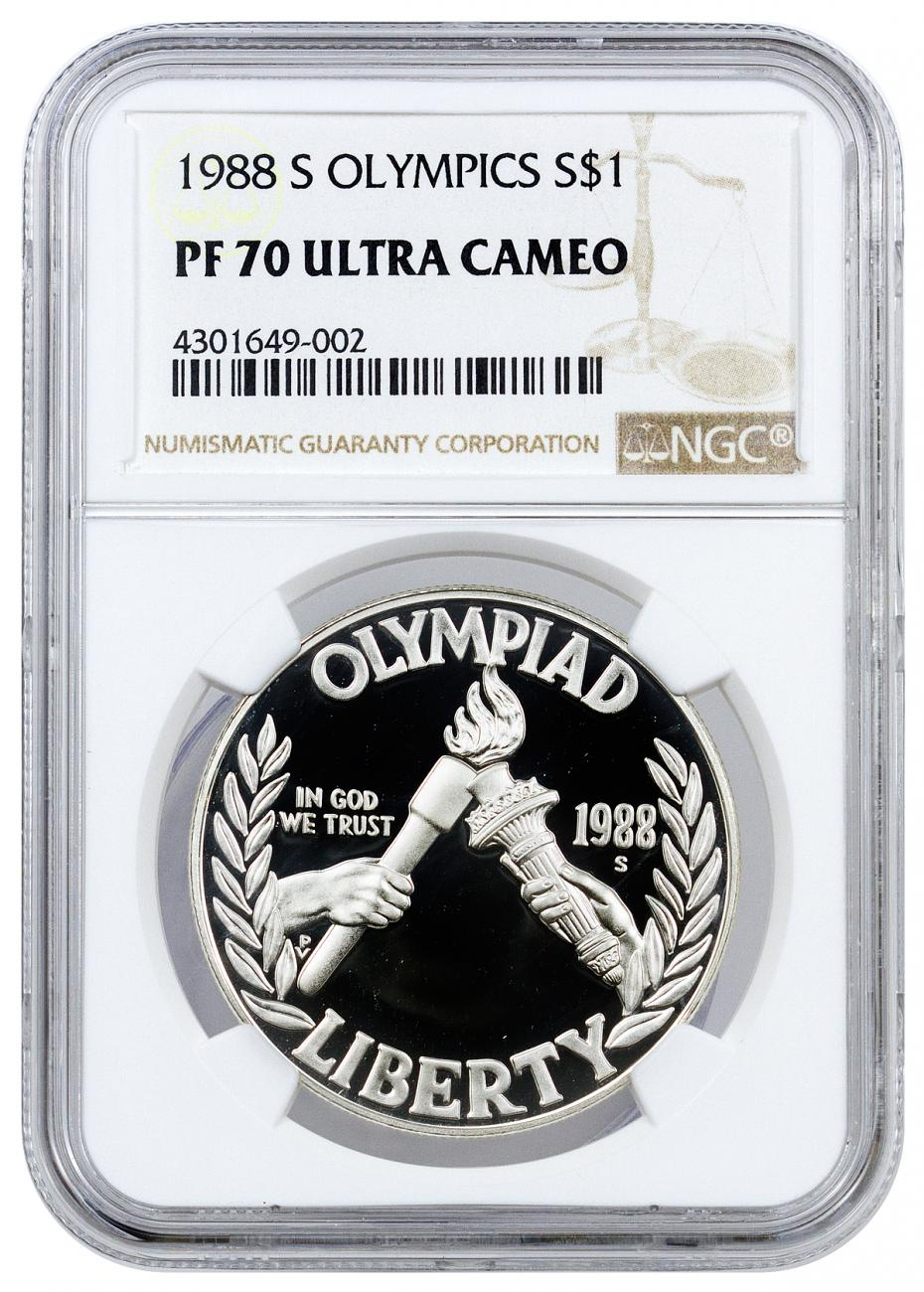 1988-S Olympics Commemorative Silver Dollar Proof NGC PF70 UC