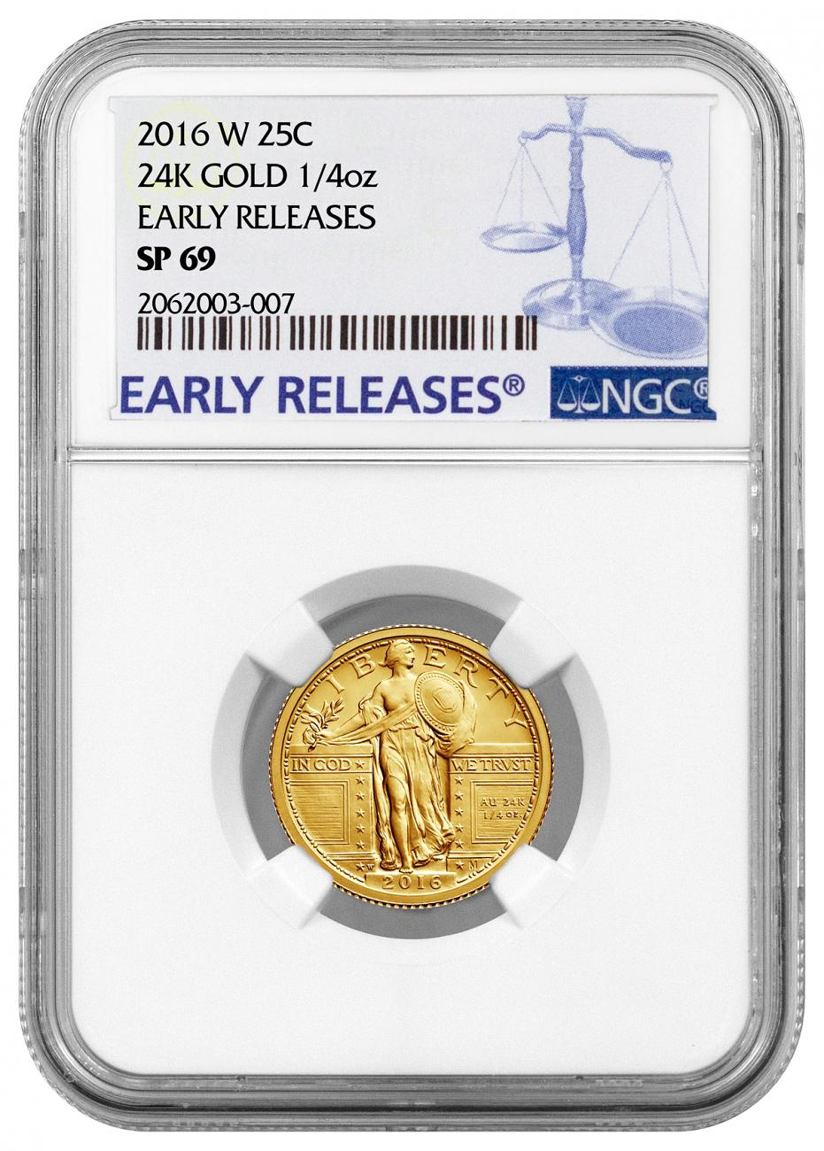 2016-W 1/4 oz. Gold Standing Liberty Quarter Centennial - NGC SP69 Early Releases