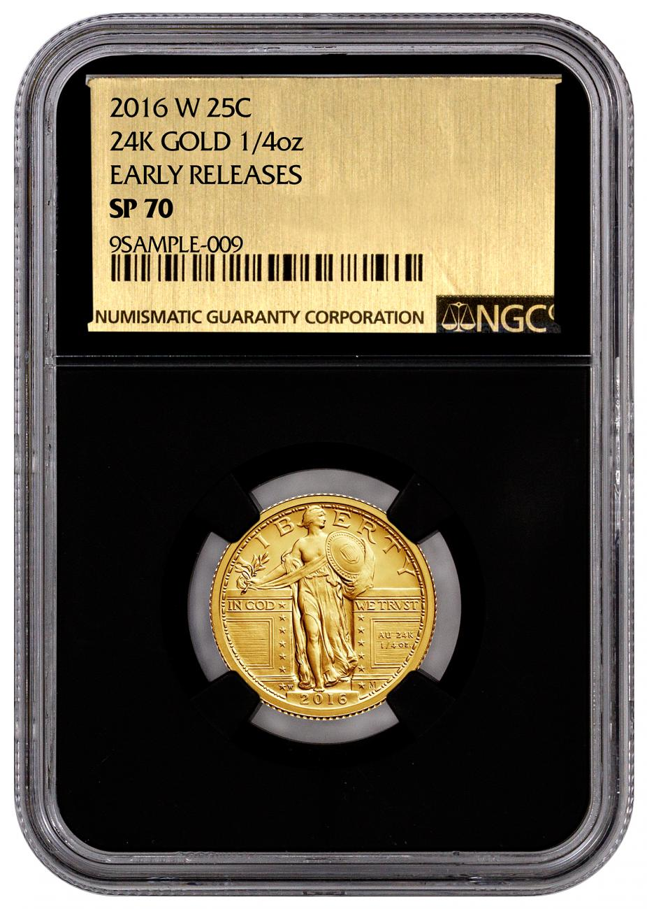 2016-W 1/4 oz. Gold Standing Liberty Quarter Centennial - NGC SP70 Early Releases (Black Core Gold Foil Label)