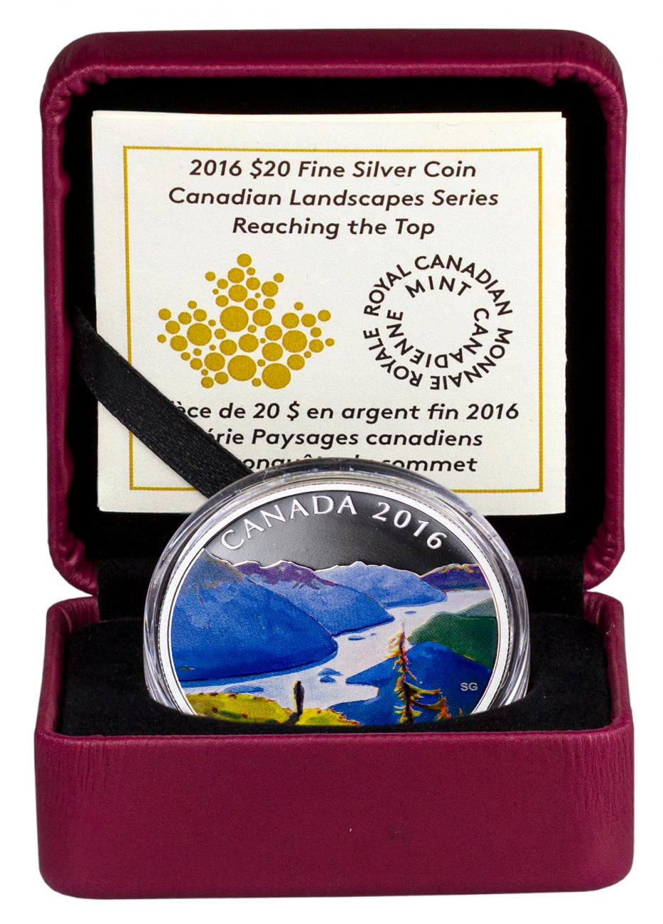 2016 Canada $20 1 oz. Colorized Proof Silver Canadian Landscapes - Reaching the Top - GEM Proof (Original Mint Packaging)