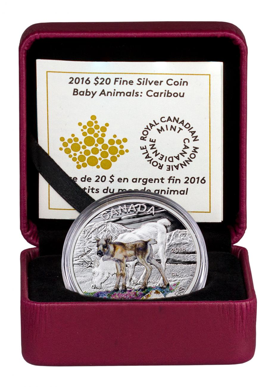 2016 Canada $20 1 oz. Colorized Proof Silver Baby Animals - Caribou - GEM Proof (Original Mint Packaging)