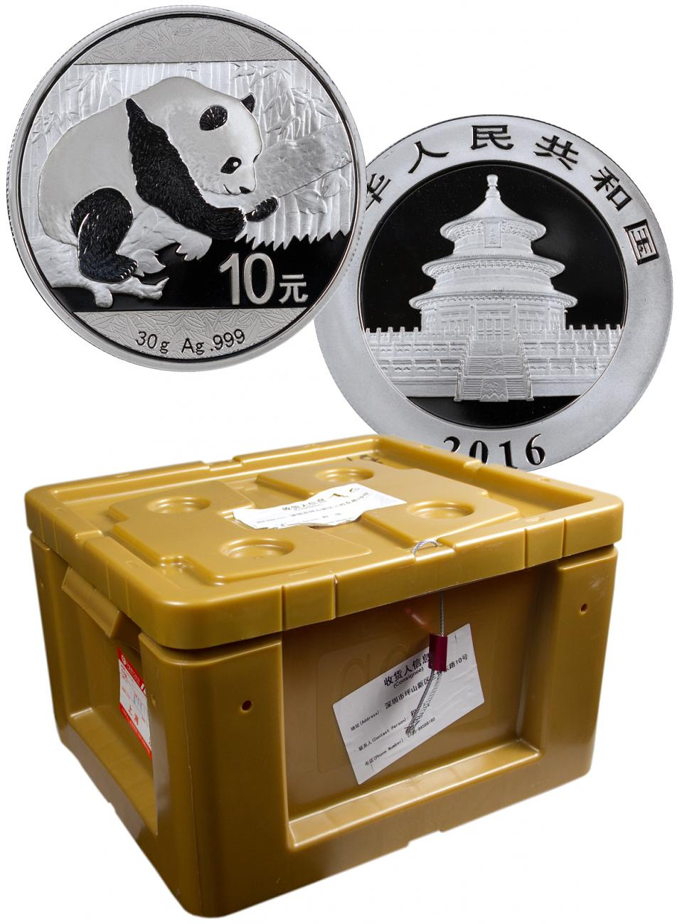 Monster Box of 450 - 2016 China 30 g Silver Panda ¥10 Coins GEM BU Mint Sealed