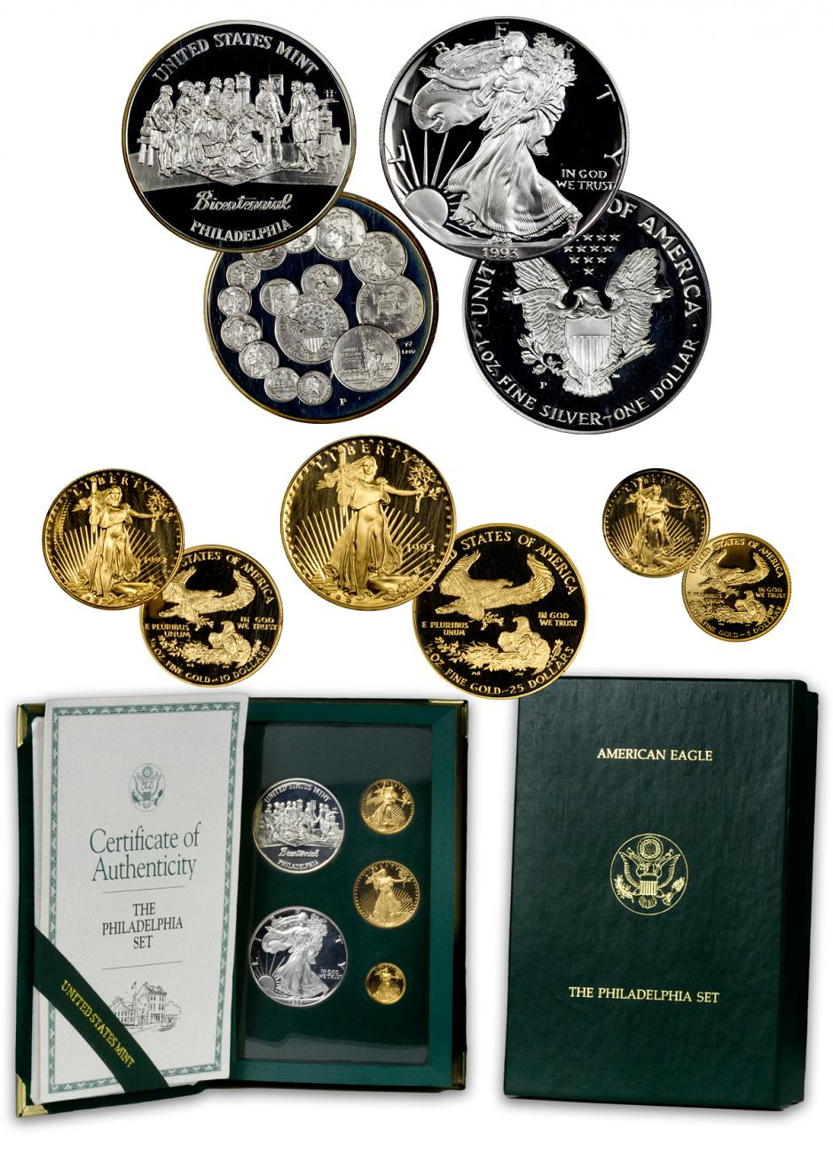 1993 Proof Gold & Silver Philadelphia Bicentennial - Set of 5 Coins - GEM Proof (Original Mint Packaging)