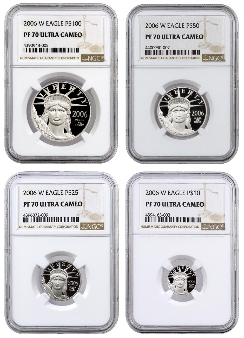 2006 W Platinum American Eagle Proof 4 Coin Set Ngc Pf70 Uc Moderncoinmart