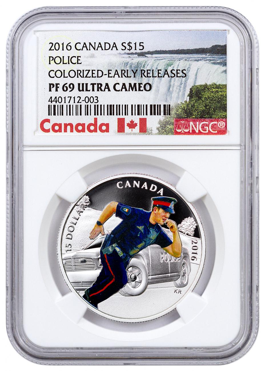 2016 Canada $15 3/4 oz. Colorized Proof Silver National Heroes - Police - NGC PF69 UC Early Releases (Exclusive Canada Label)