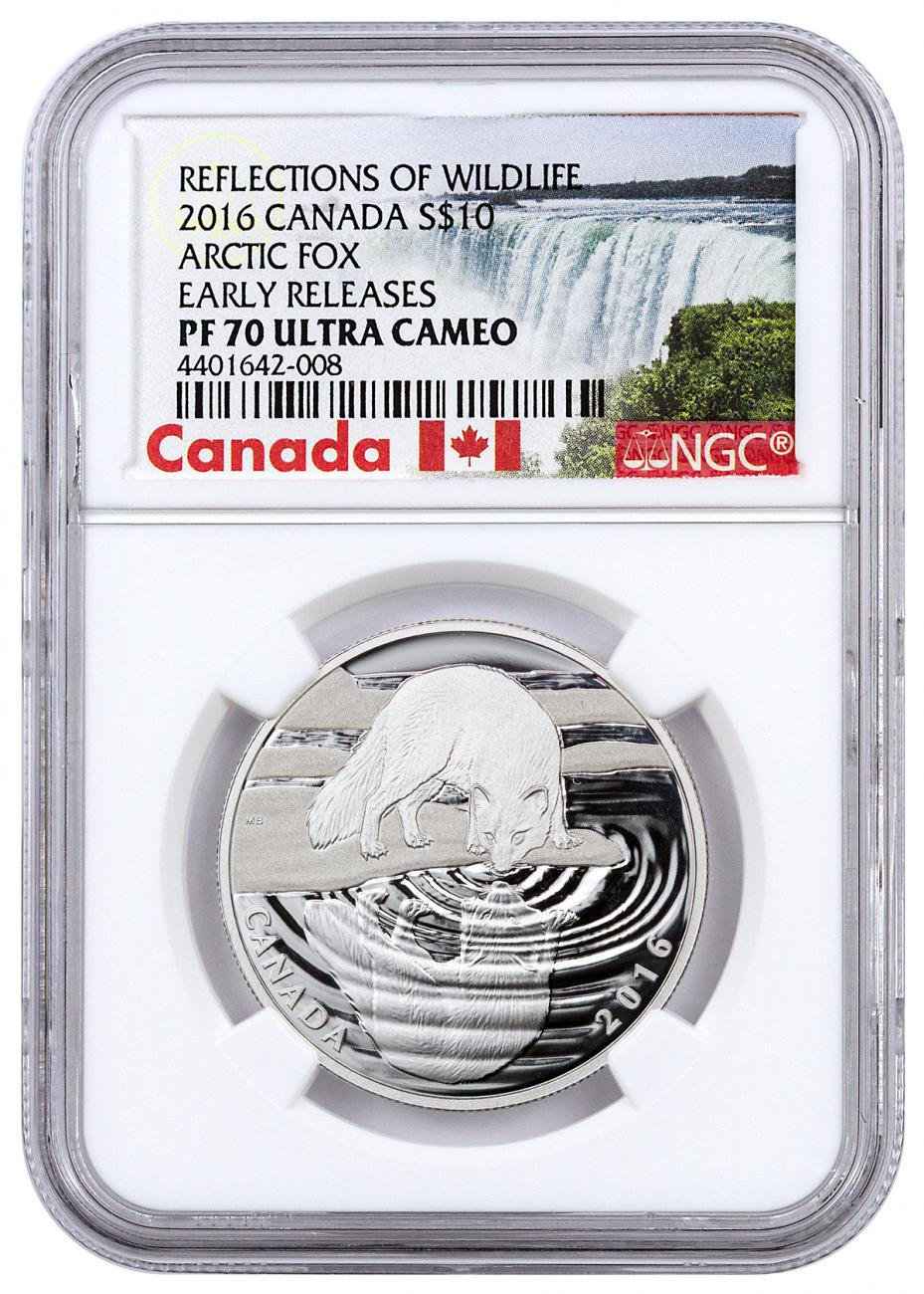 2016 Canada $10 1/2 oz. Proof Silver Reflections of Wildlife - Arctic Fox - NGC PF70 UC Early Releases (Exclusive Canada Label)
