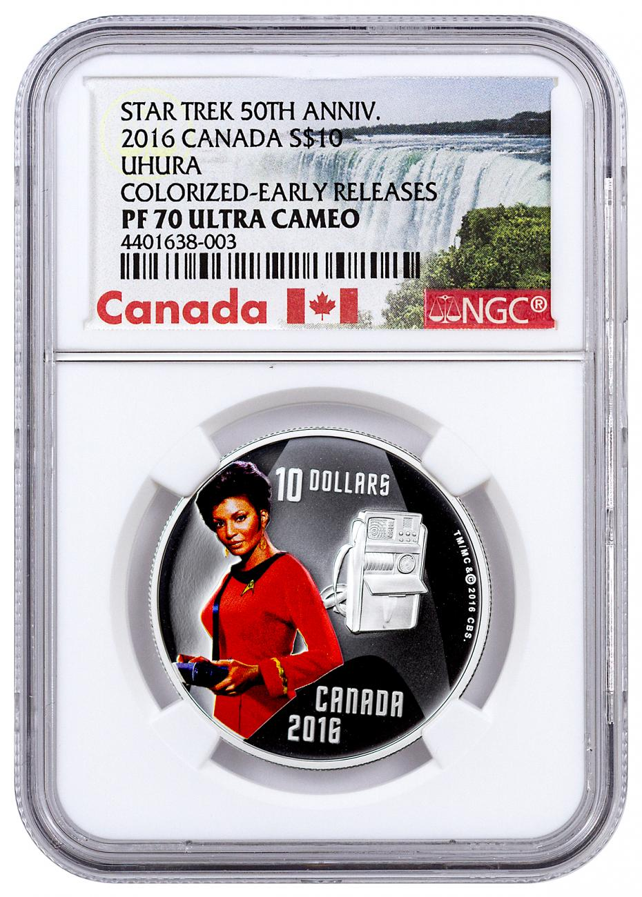 2016 Canada $10 1/2 oz. Colorized Proof Silver Star Trek - Uhura - NGC PF70 UC Early Releases (Exclusive Canada Label)