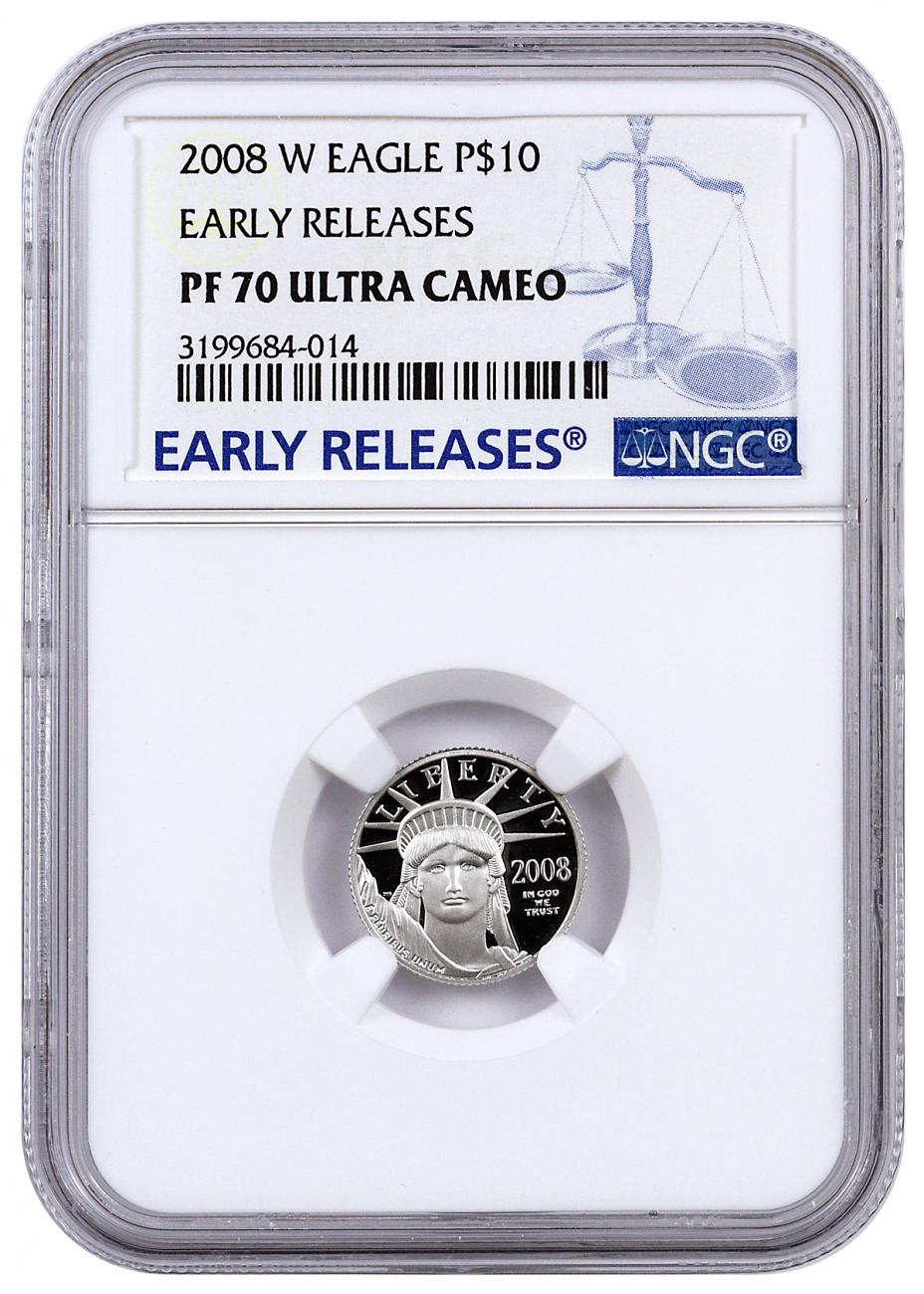 2008-W $10 1/10 oz. Proof American Platinum Eagle - NGC PF70 UC Early Releases