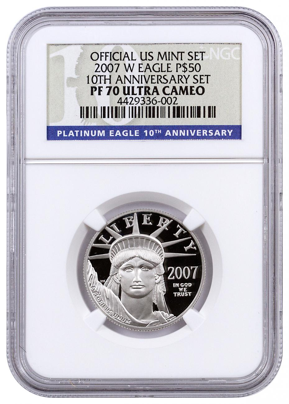 2007-W $50 1/2 oz. Proof American Platinum Eagle - From 10th Anniversary Set - NGC PF70 UC