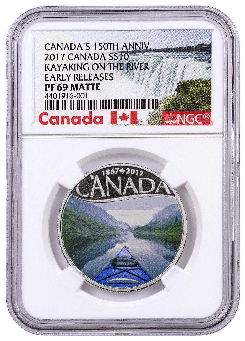2017 Canada $10 1/2 oz. Colorized Proof Silver Celebrating Canada's 150th - Kayaking on the River - NGC PF69 Early Releases (Exclusive Canada Label)