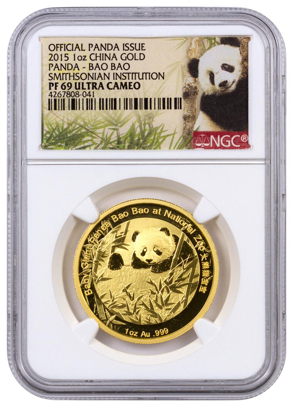2015 China 1 oz. Proof Gold Panda Smithsonian Institution Official Commemorative - Bao Bao - NGC PF69 UC (Panda Label)
