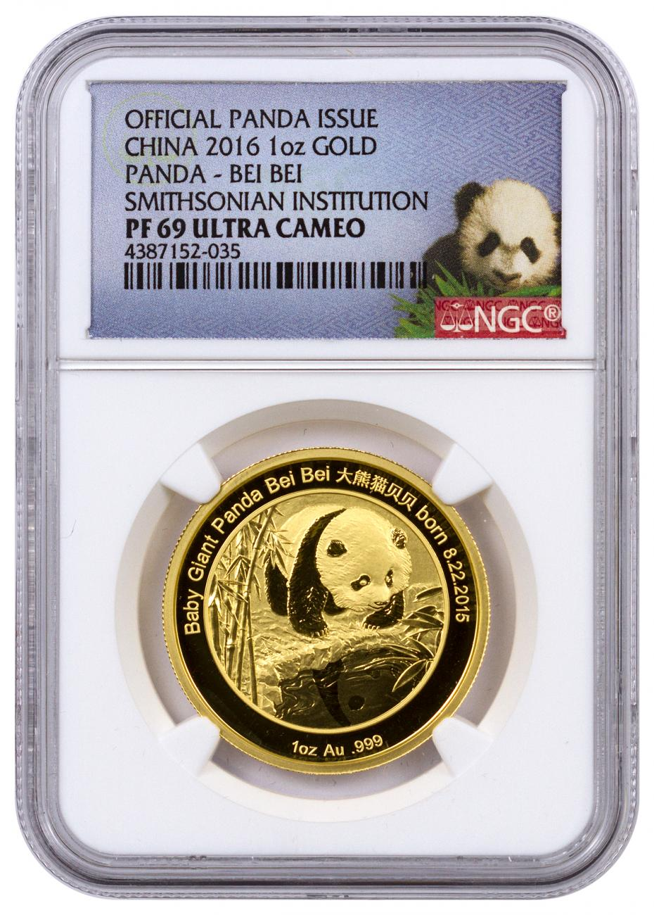 2016 China Bei Bei Smithsonian Institution Official Mint Medal 1 oz Gold Proof Medal NGC PF69 UC (Panda Label)