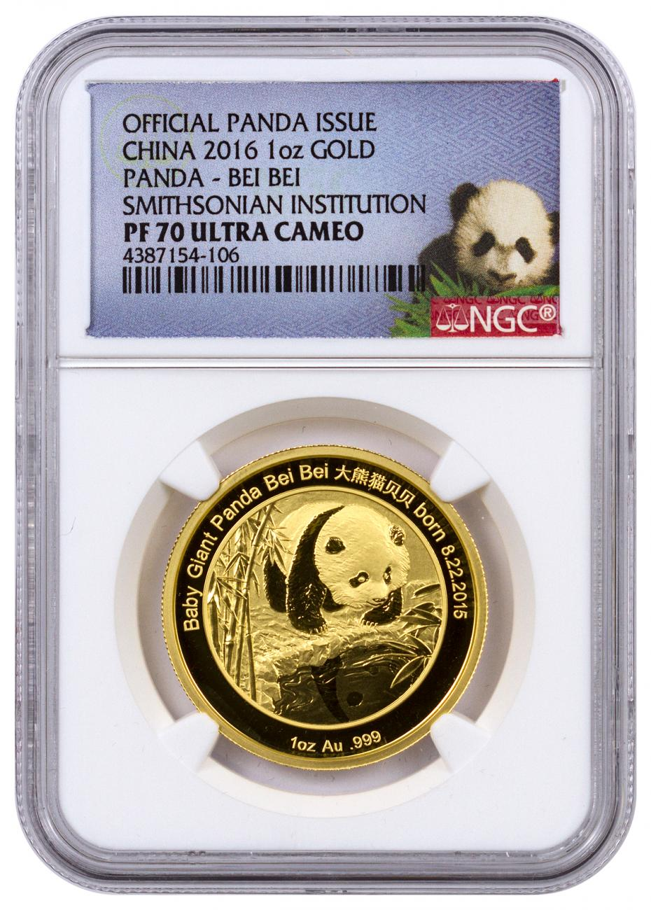 2016 China Bei Bei Smithsonian Institution Official Mint Medal 1 oz Gold Proof Medal NGC PF70 UC (Panda Label)