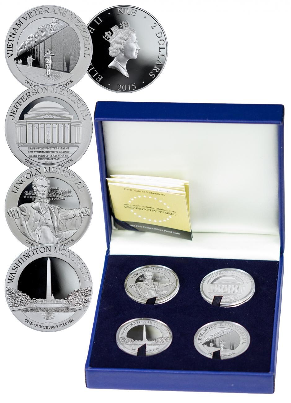 2015 Niue $2 1 oz. Proof Silver America's National Monuments Series - Set of 4 Coins - GEM Proof (Original Mint Packaging)