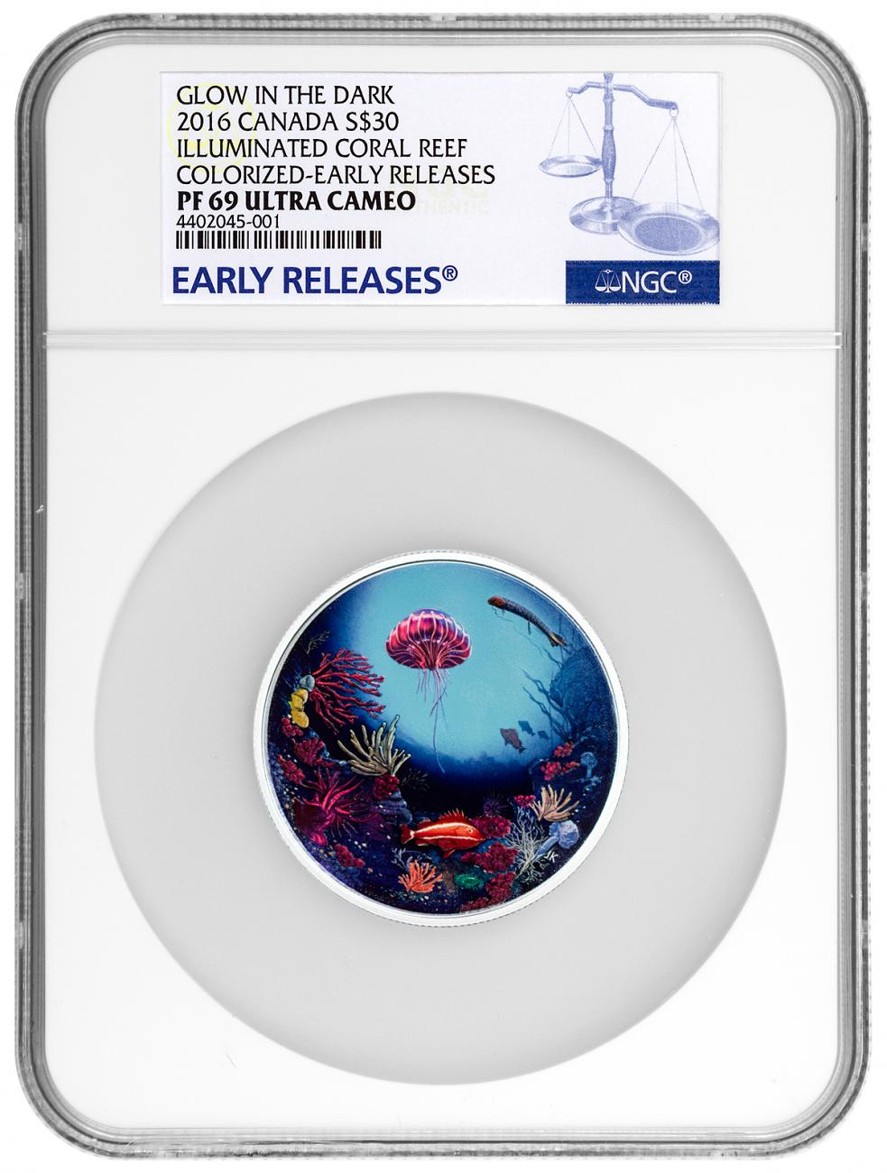 2016 Canada Glow in the Dark - Illuminated Underwater Reef 2 oz Silver Colorized Proof $30 NGC PF69 UC ER