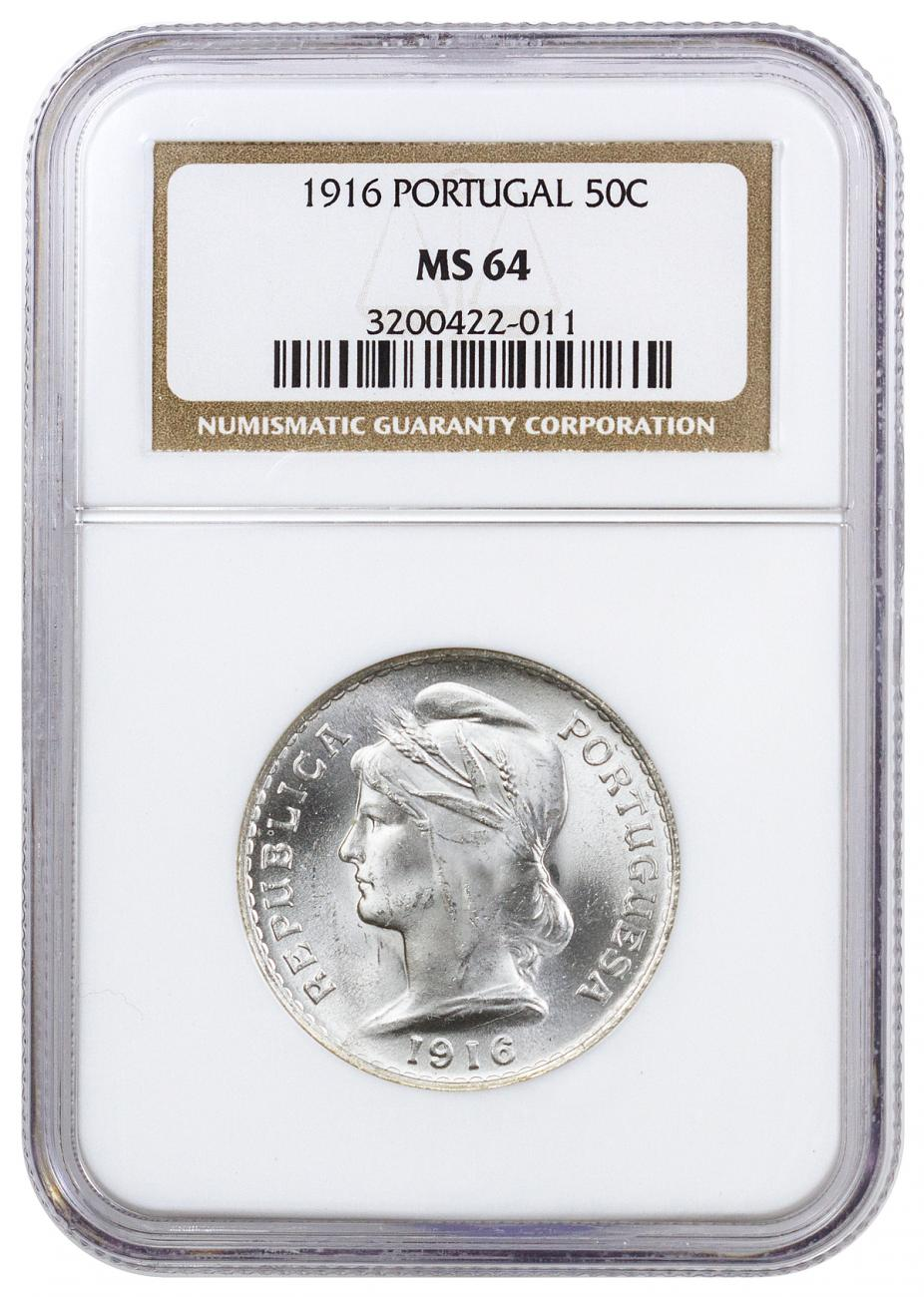 1916 Portugal Silver 50 Centavos NGC MS64