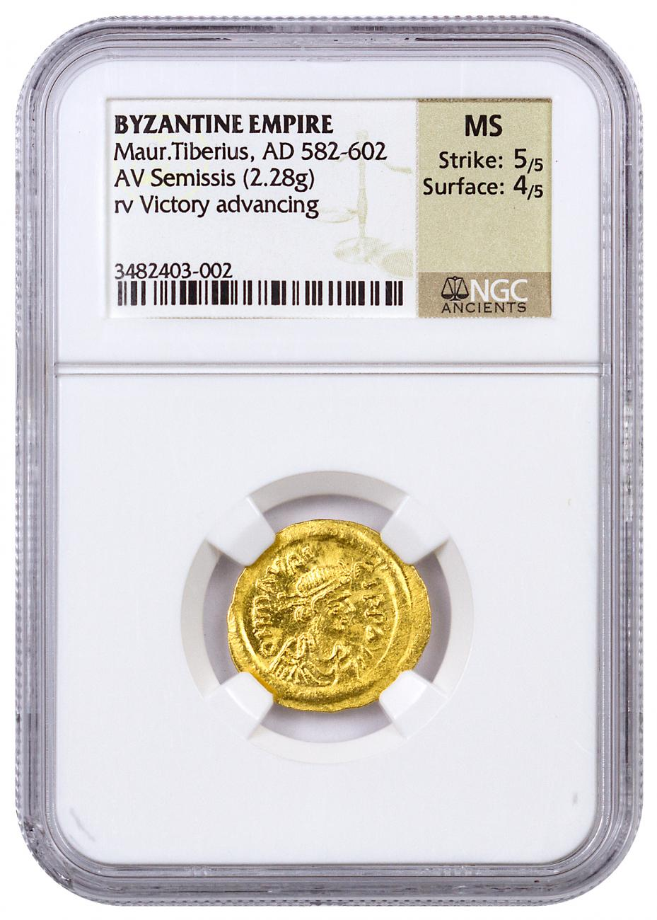 Byzantine Empire Gold Semissis of Maurice (AD 582-602) - Victory advancing - NGC MS (Strike: 5/5 - Surface: 4/5)