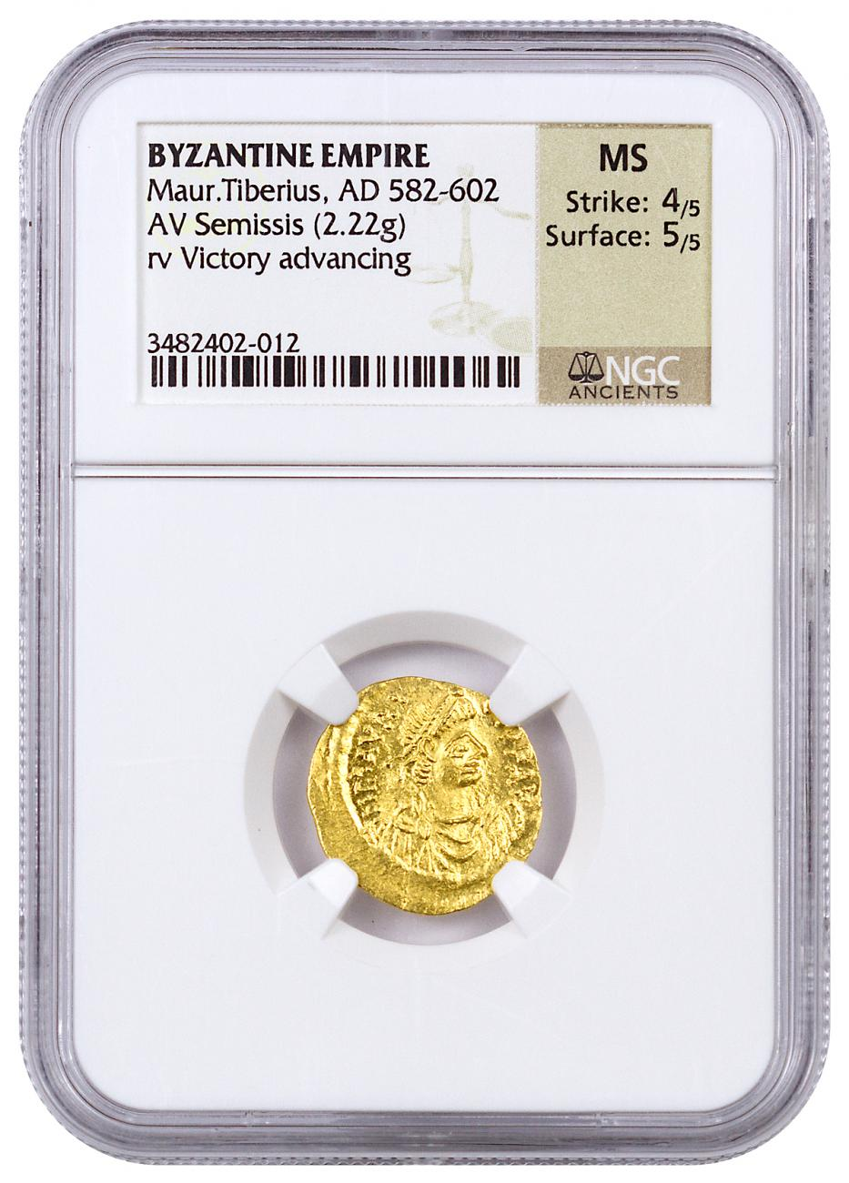 Byzantine Empire Gold Semissis of Maurice (AD 582-602) - Victory Advancing - NGC MS (Strike: 4/5 - Surface: 5/5)