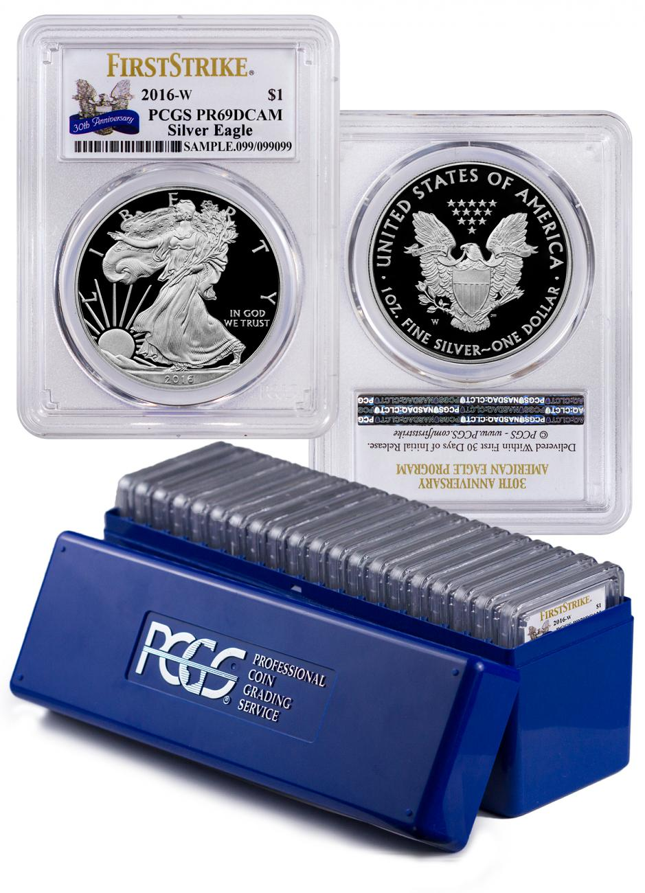 2016-W Proof American Silver Eagle - Box of 20 - PCGS PR69 DCAM First Strike (30th Anniversary Label)