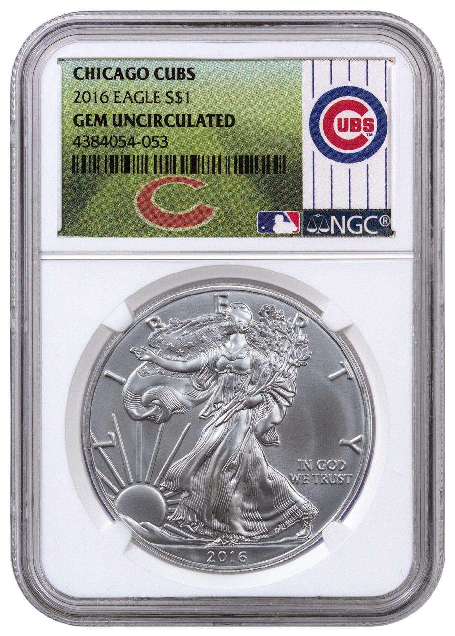 2016 American Silver Eagle Ngc Gem Bu Chicago Cubs Label