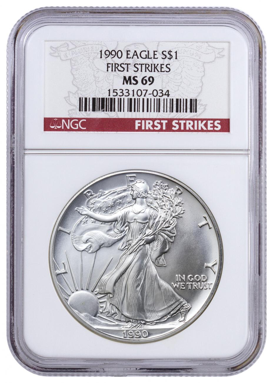 1990 American Silver Eagle - NGC MS69 First Strikes