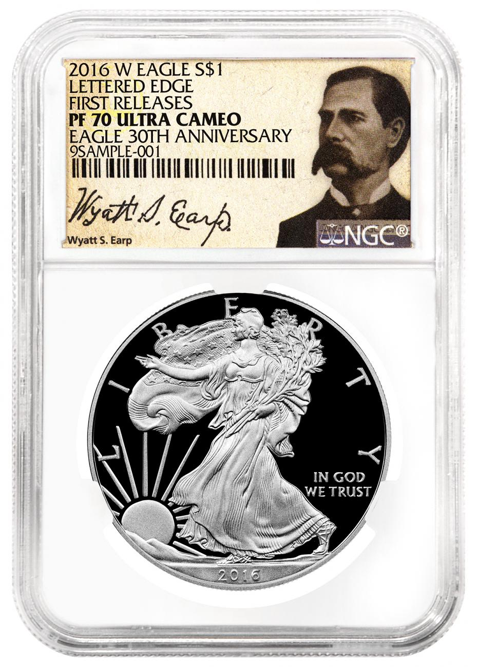 2016-W Proof American Silver Eagle - NGC PF70 UC First Releases (Wyatt Earp Label)