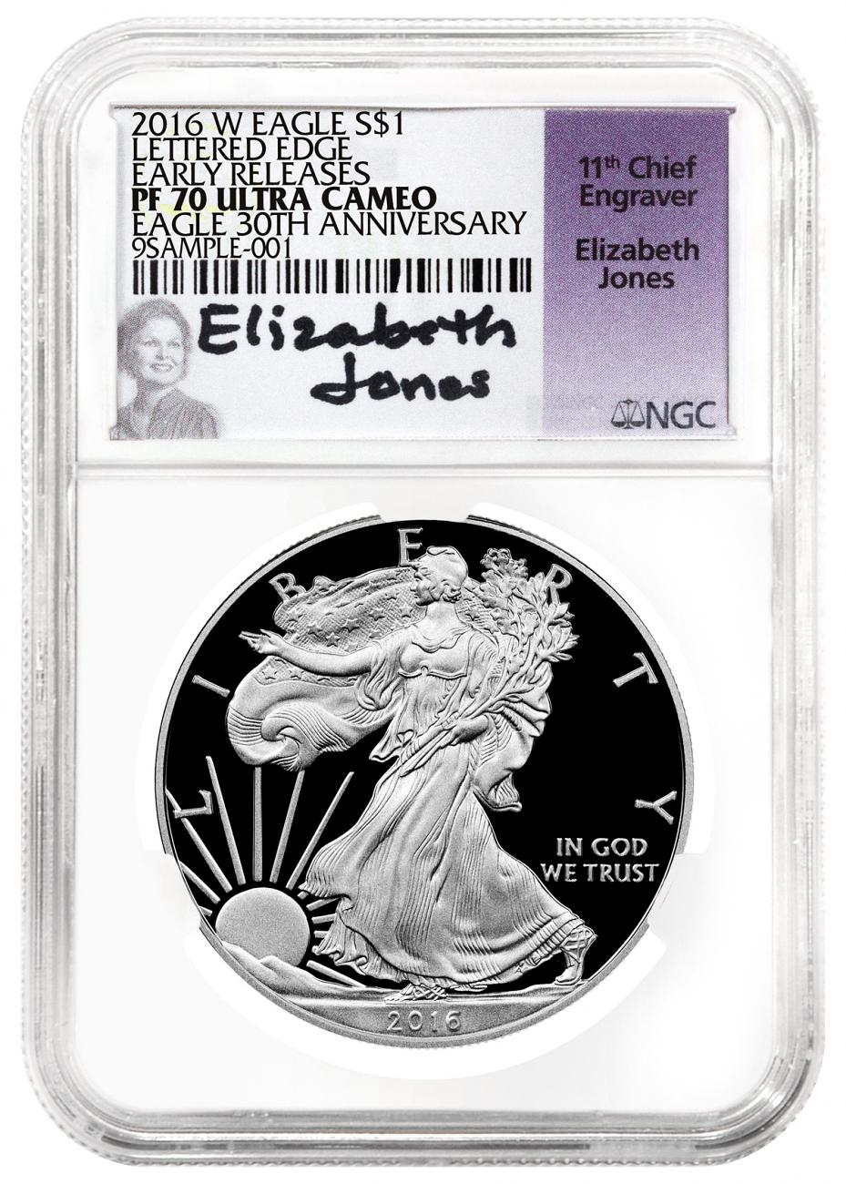 2016-W Proof American Silver Eagle - NGC PF70 UC Early Releases (Elizabeth Jones Signed Label)