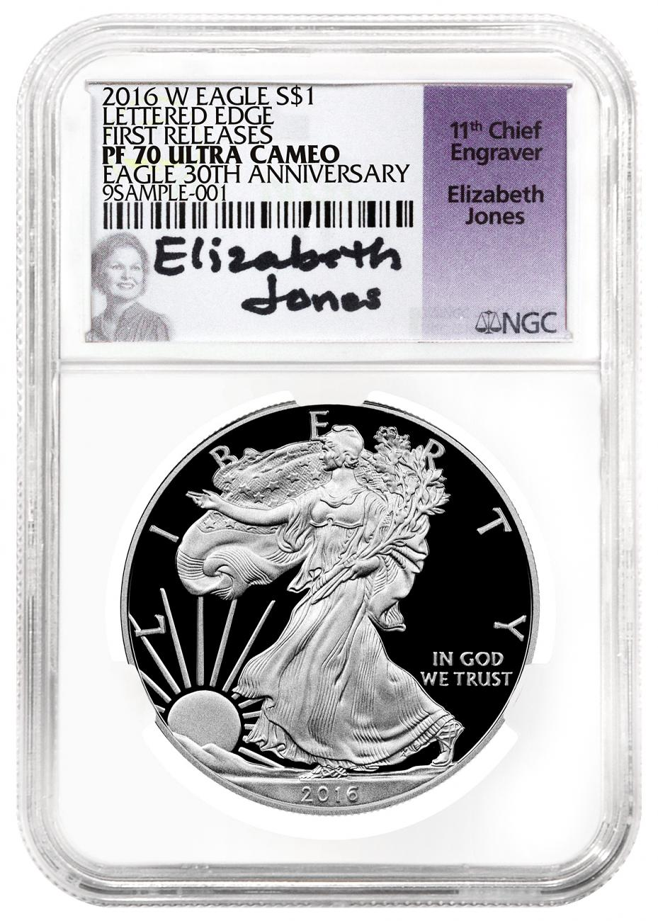 2016-W Proof American Silver Eagle - NGC PF70 UC First Releases (Elizabeth Jones Signed Label)