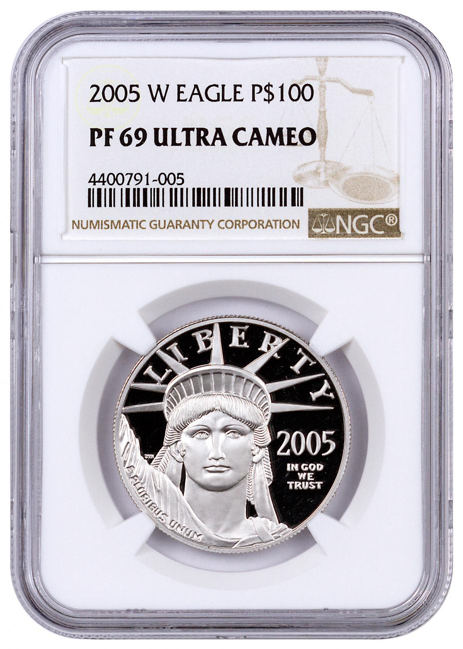2005-W 1 oz Platinum American Eagle Proof $100 NGC PF69 UC