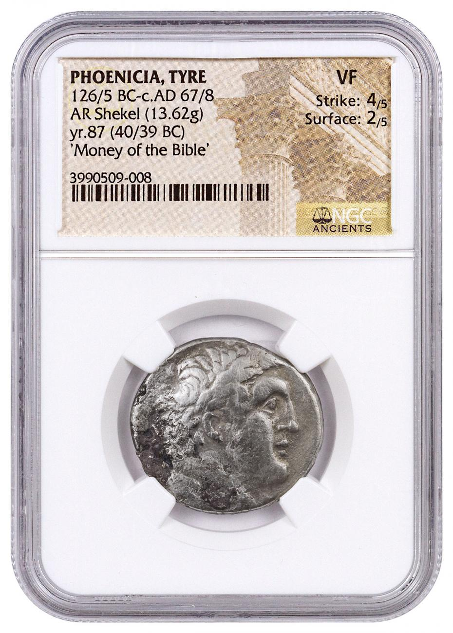 Phoenicia, Tyre Silver Shekel (126/5 BC-c.AD 67/8) - Money of the Bible Yr.87 (40/39 BC) - obv. Melkart/rv. Eagle on Prow NGC VF (Strike: 4/5, Surface: 2/5)