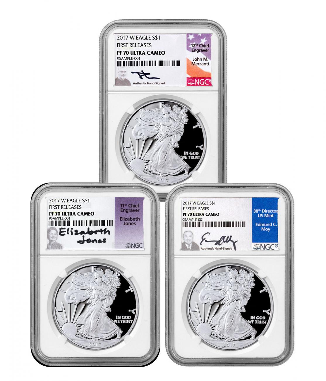 2017 W Silver American Eagle NGC PF70 Ultra Cameo Ed Moy Signed