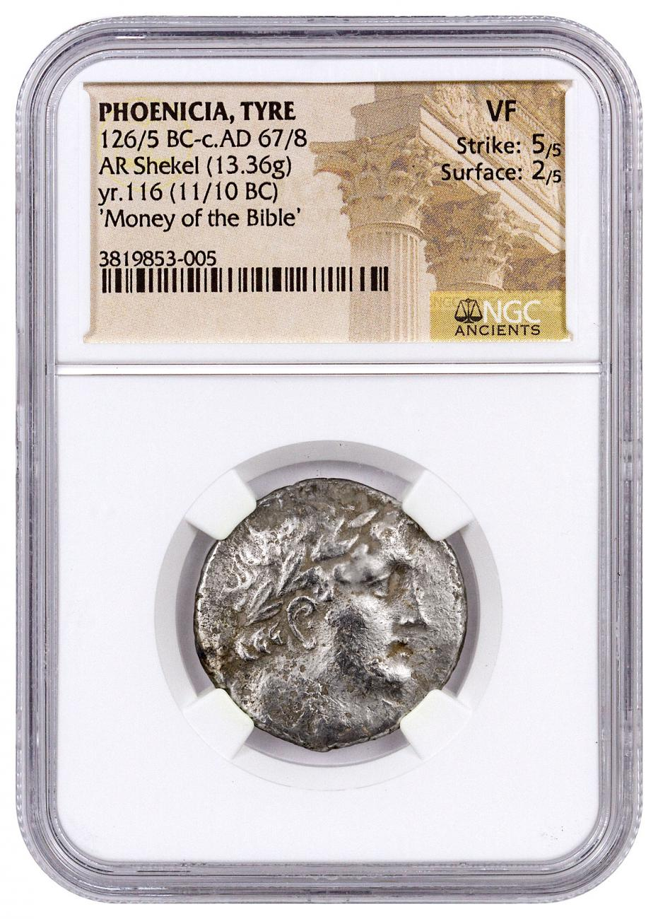 Phoenicia, Tyre Silver Shekel (126/5 BC-c.AD 67/8) - Money of the Bible Yr.116 (11/10 BC) - obv. Melkart/rv. Eagle on Prow NGC VF (Strike: 5/5, Surface: 2/5) MINTED NEAR TIME OF CHRIST'S BIRTH
