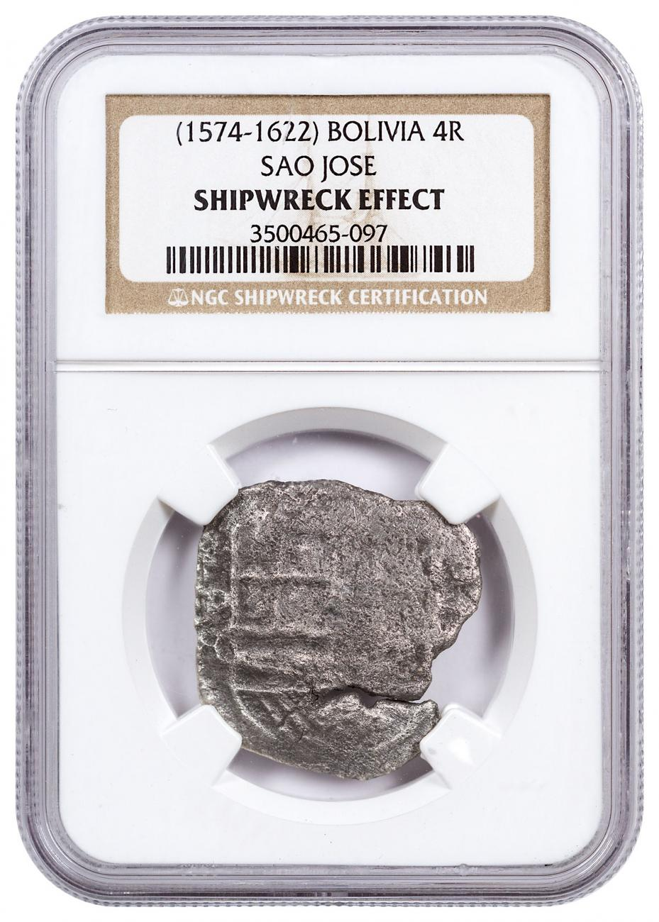 1574-1622 Bolivia Silver 4 Reales NGC Shipwreck Effect