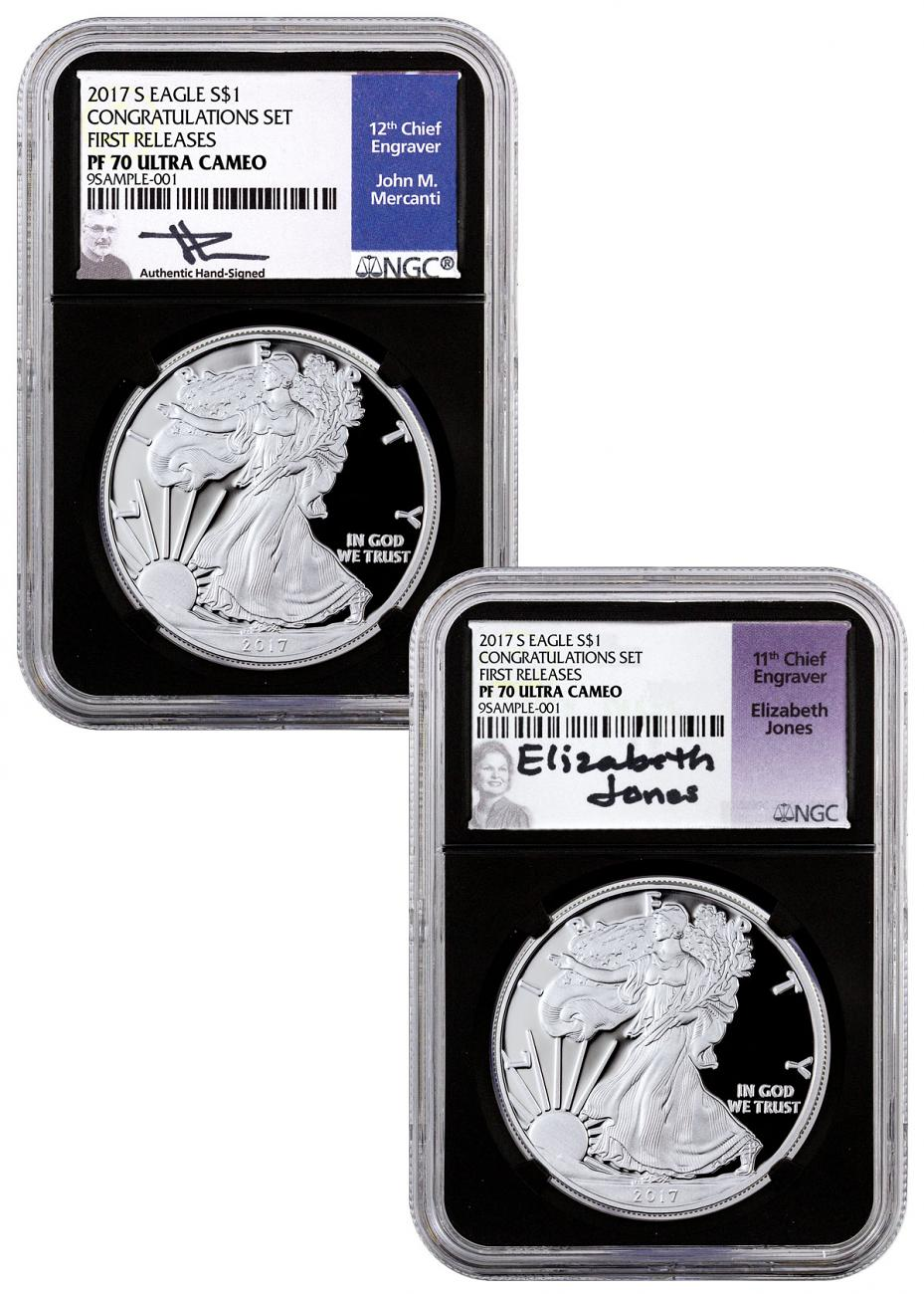 2-Coin Set - 2017-S Proof Silver Eagle - Congratulations Set NGC PF70 UC FR Black Core Holder Jones & Blue Mercanti Signed Labels