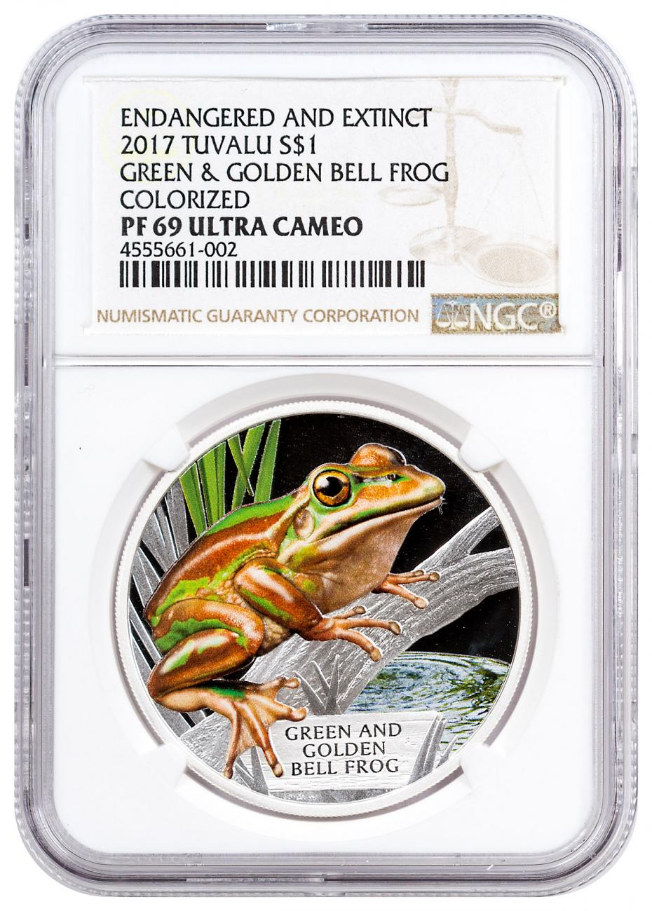 2017 Tuvalu Endangered and Extinct - Green and Golden Bell Frog 1 oz Silver Proof $1 Coin NGC PF69 UC