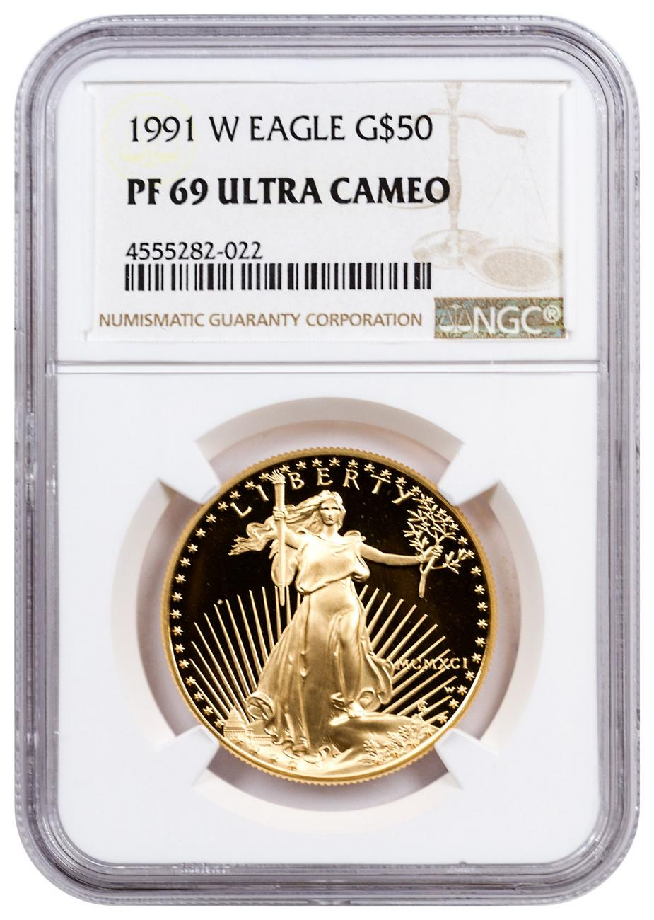 1991-W 1 oz Gold American Eagle Proof $50 NGC PF69 UC