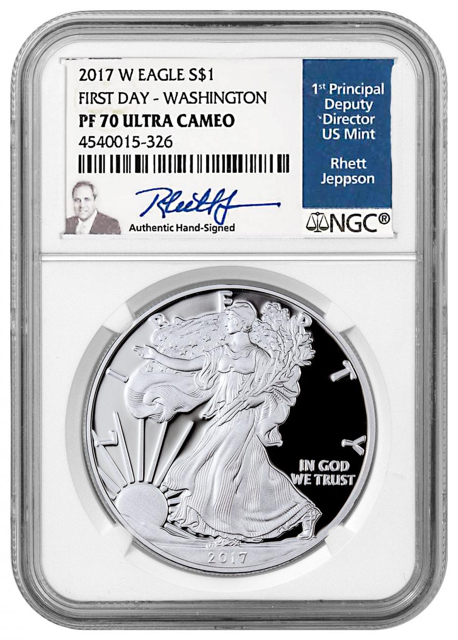 2017-W Proof American Silver Eagle NGC PF70 UC FDI Jeppson Signed Washington D.C. Label