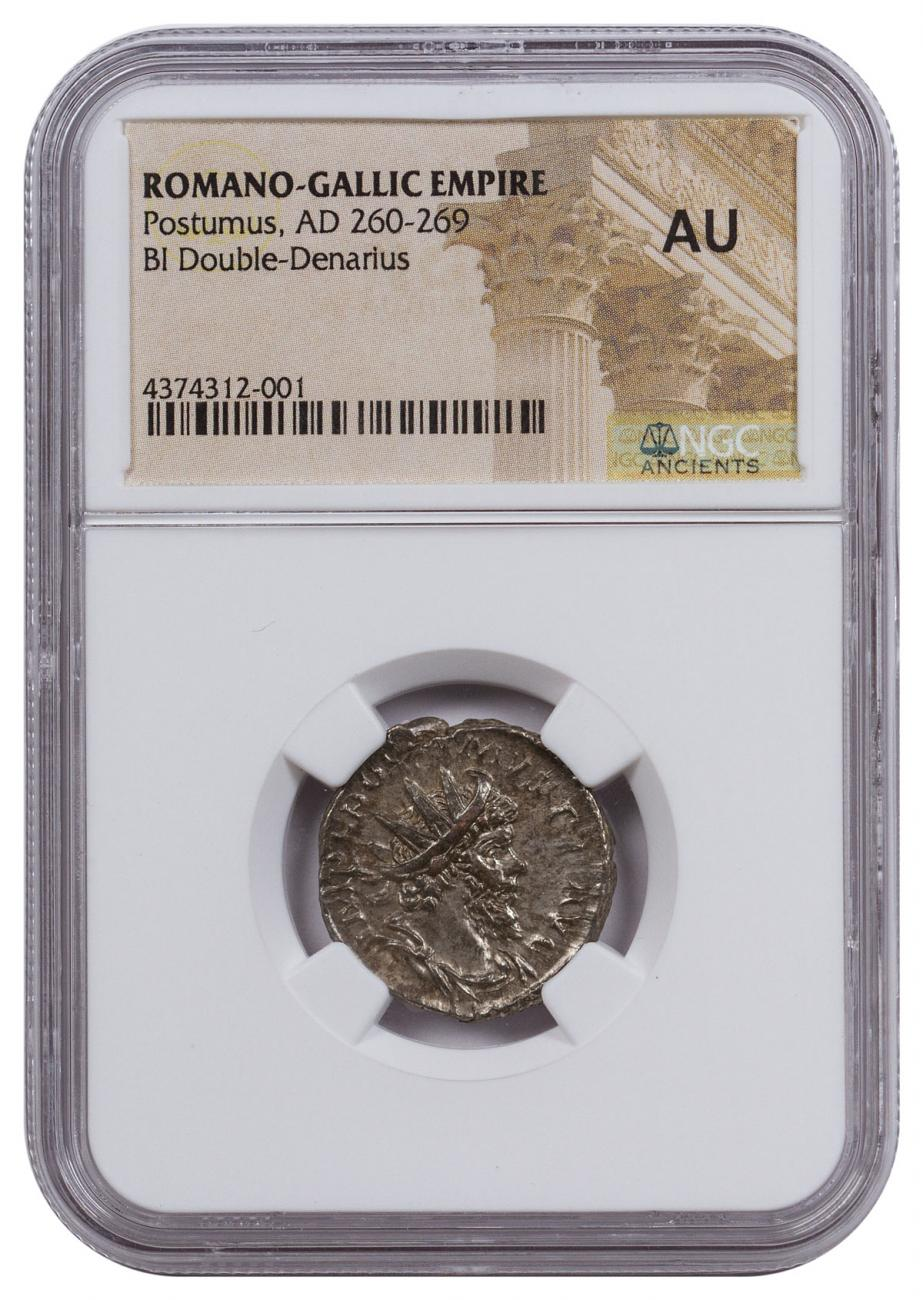 Romano-Gallic Empire, Billon Double Denarius of Postumus (AD 260-269) NGC AU