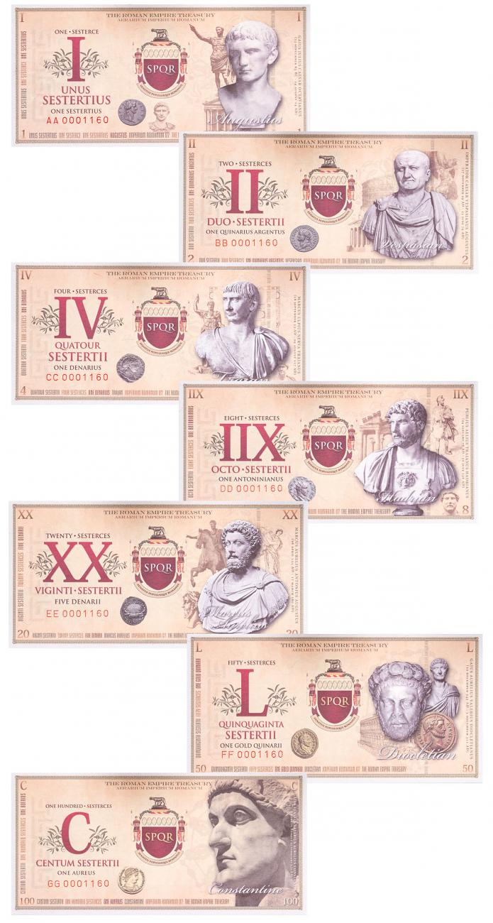 Roman Empire, (2007) Fantasy Banknotes 7-Piece Set