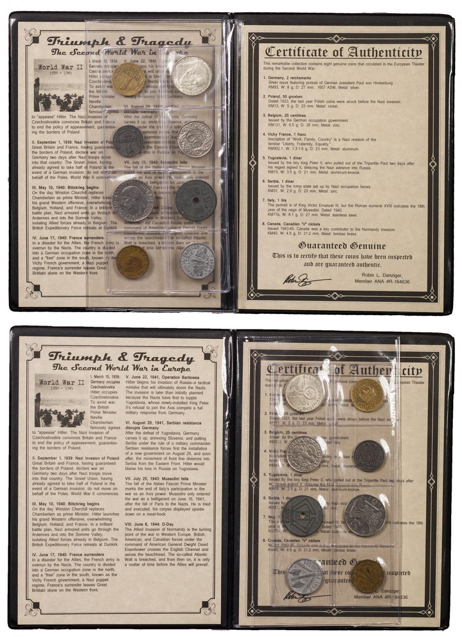 1939-1945 Europe - Triumph and Tragedy: Coins of WWII (Presentation Portfolio with COA)