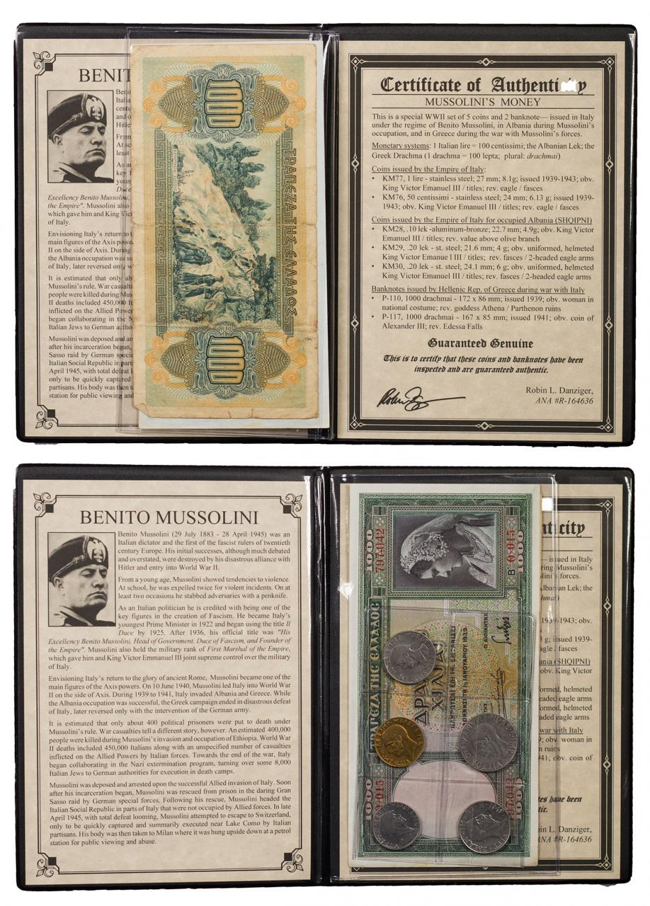 1939-1942 Italy Mussolini Money Set (Presentation Portfolio with COA)