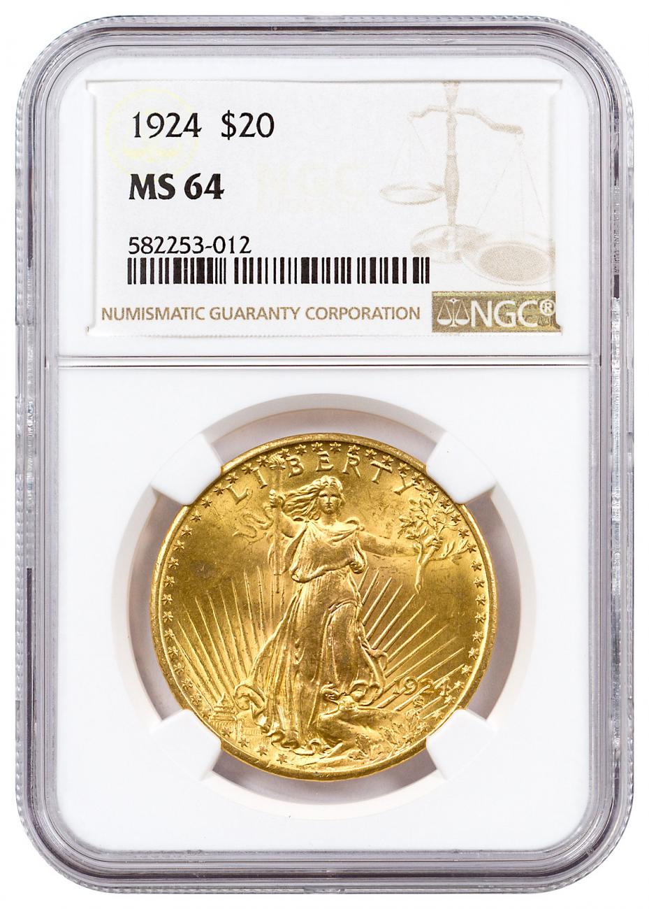 1924 Saint-Gaudens $20 Gold Double Eagle NGC MS64