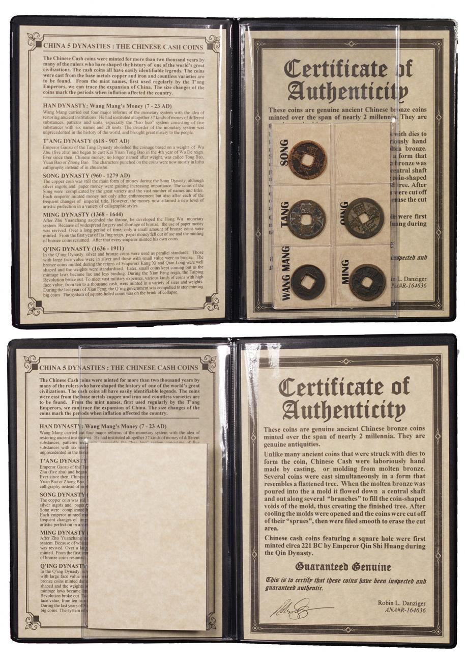 (AD 7-1911) China Five Dynasties Cash 5-Coin Set (Presentation Portfolio with COA)