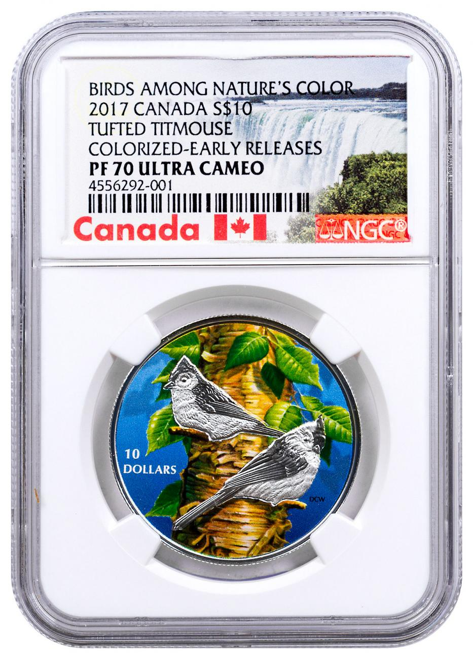 2017 Canada Birds Among Nature's Colors - Tufted Titmouse 1/2 oz Silver Colorized Proof $10 Coin NGC PF70 UC ER Exclusive Canada Label